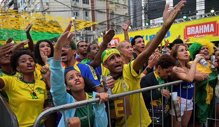 Brazil fans watching a screening of the match | AFP