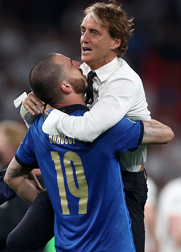 Master's plan: Mancini celebrates with Leonardo Bonucci after Italy beat England in the 2020 Euro final | AP