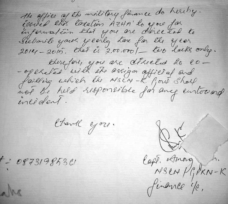 Extortion letter received by a forest ranger.