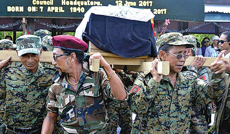 Unyielding spirit: The coffin of NSCN(K) founder S.S. Khaplang being carried by his military chiefs for burial.