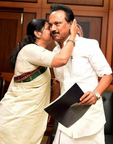 Wishing luck: Kanimozhi with brother Stalin after he filed his nomination for the party president's post in Chennai | PTI