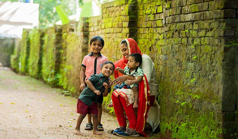 Mother's love: Sajitha Jabil with her children | Vipin Das P.
