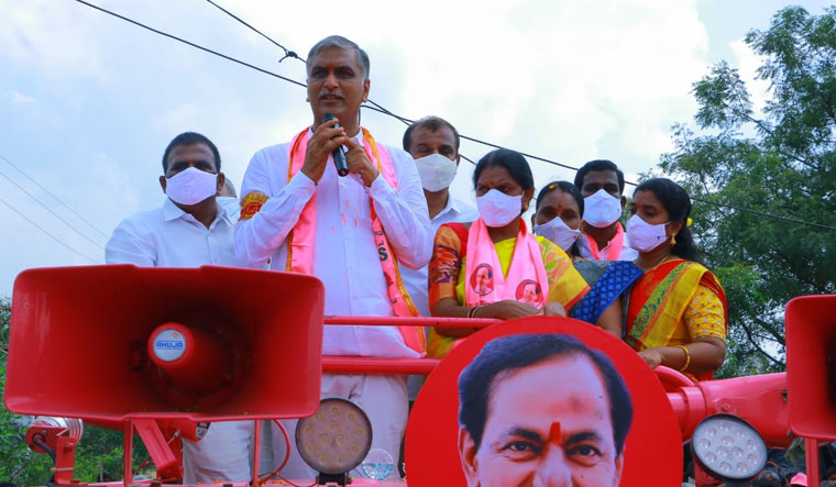Finance Minister Harish Rao with TRS candidate S. Sujatha
