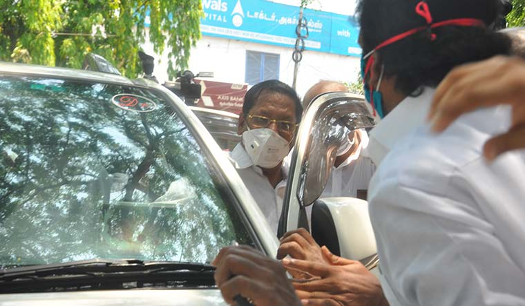 In and out: R.S. Bharathi, MP, after his arrest on May 23 | R.G. Sastha