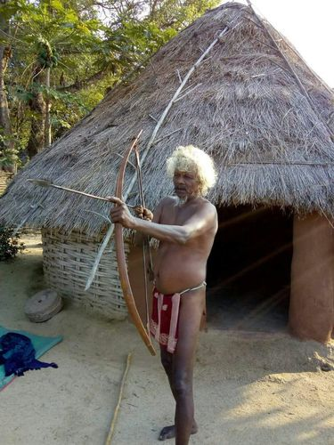 Vulnerable hunters: An elder with bow and arrow-Chenchus are excellent marksmen.