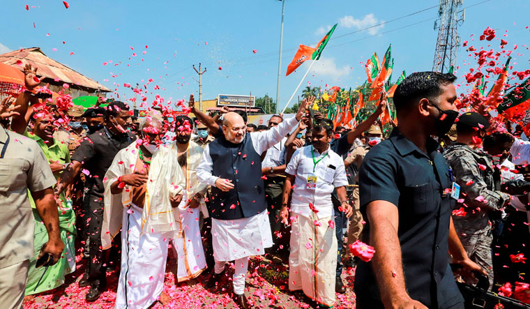Divine assistance: Union Home Minister Amit Shah during his visit to Lord Thanumalayan temple in Kanyakumari on March 7 | PTI