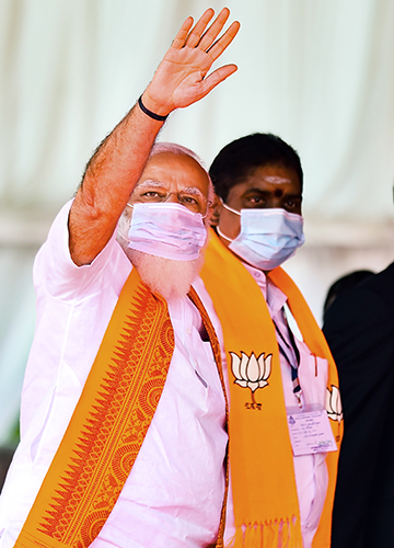 Who will blink first?: Prime Minister Narendra Modi flew down to launch the BJP's campaign   PTI