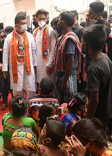 Pain of loss: BJP leader Suvendu Adhikari with victims of the violence | Salil Bera