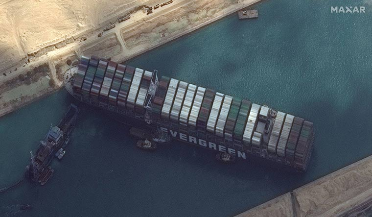 The big, stuck ship is blocking bikes, too