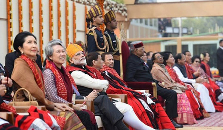 A cross-section of the ASEAN leaders watching the Republic Day parade with Prime Minister Narendra Modi and President Ram Nath Kovind | PTI