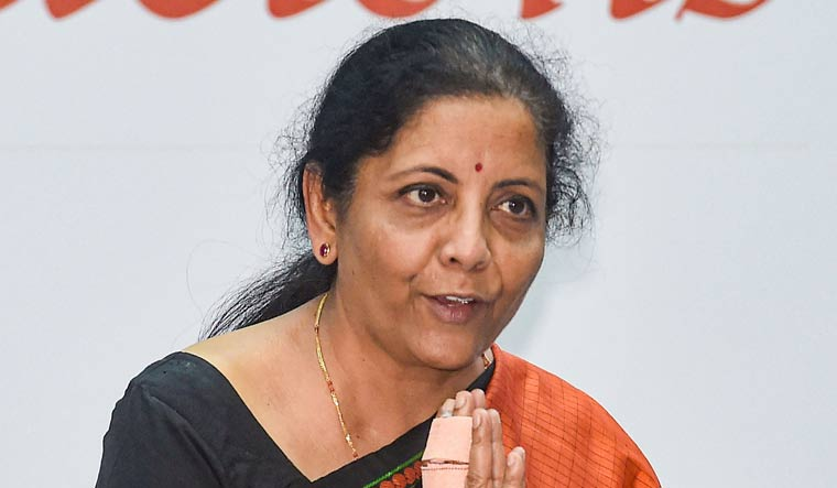 Union Finance Minister Nirmala Sitharaman arrives for the Silver Jubilee celebrations of NSE, in Mumbai | PTI