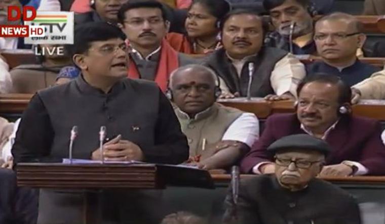 Interim Finance Minister Piyush Goyal presenting the budget 2019 in Parliament   ANI Twitter