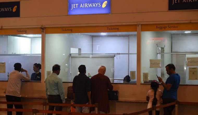 Jet Airways counter staff Mumbai AFP