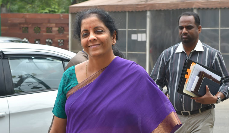 Finance Minister Nirmala Sitharaman at Parliament House during the Budget Session | PTI