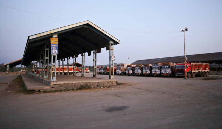 empty-truck-depot-north-kashmir-Reuters