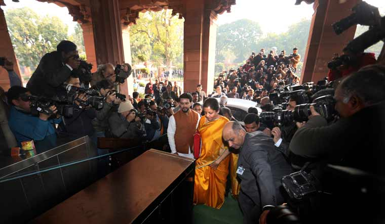 Nirmala Sitharaman arrivea at the parliament house before presenting the Union budget | AP