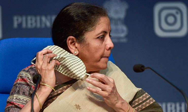 Union Finance Minister Nirmala Sitharaman during the fourth part of her press conference on the economic stimulus package | PTI