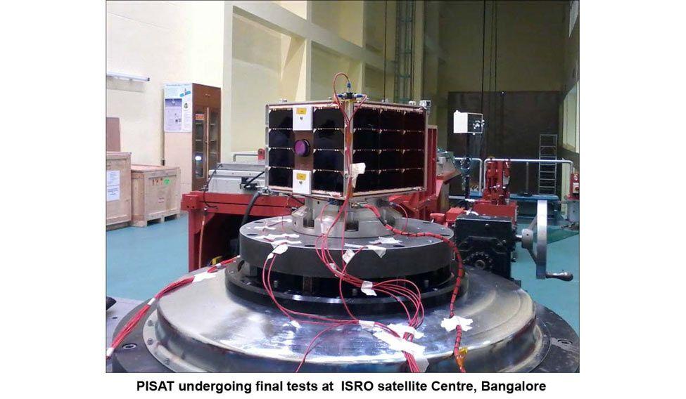 PISAT undergoing final tests at ISRO satellite centre, Bangalore