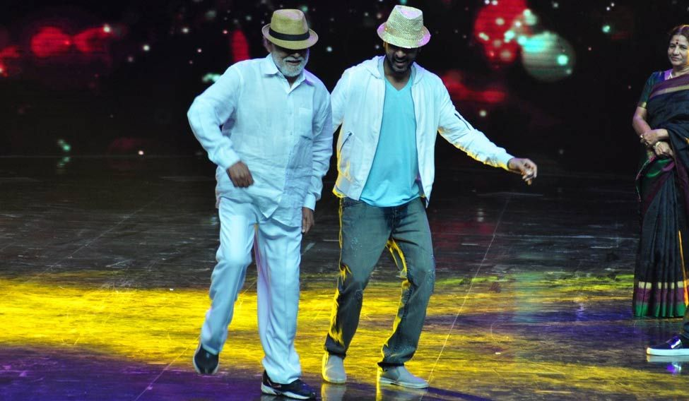 Mumbai: Actor Prabhu Deva along with his father and choreographer Mugur Sundar on the sets of dance reality show Dance + 2, in Mumbai on Sept 5, 2016. (Photo: IANS)