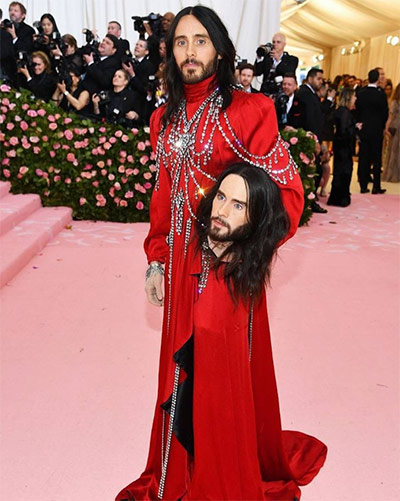 Jared Leto in a Gucci gown holding 'his dicapitated head'