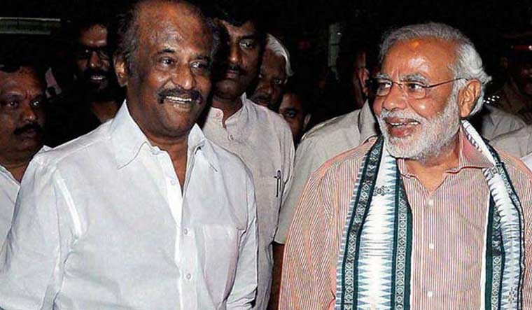 A file photo of Prime Minister Narendra Modi with Tamil superstar Rajinikanth