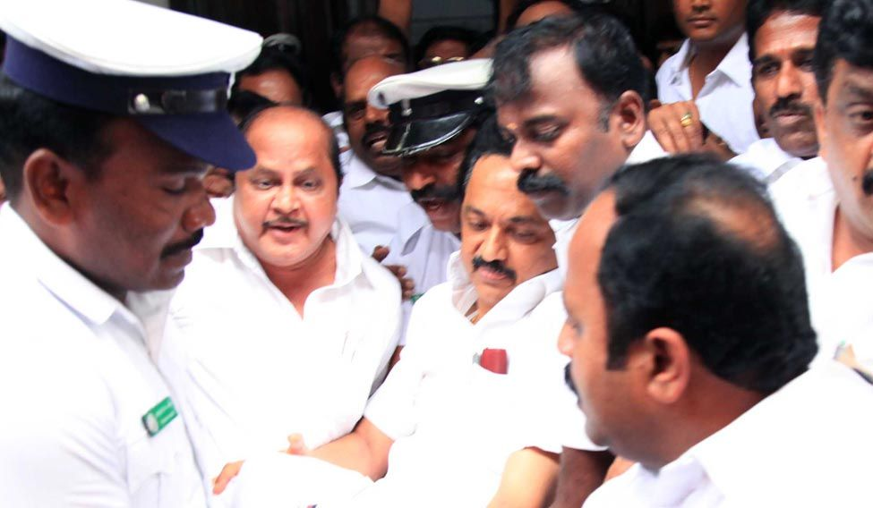 DMK MLAs evicted from assembly, suspended for a week