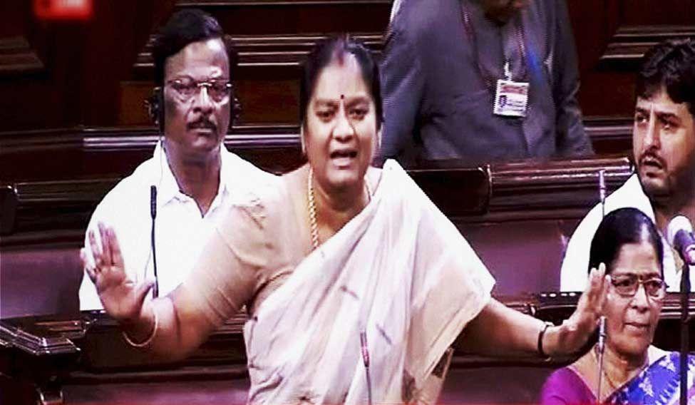 AIADMK member L. Sasikala Pushpa speaks in Rajya Sabha on Monday during the ongoing monsoon session