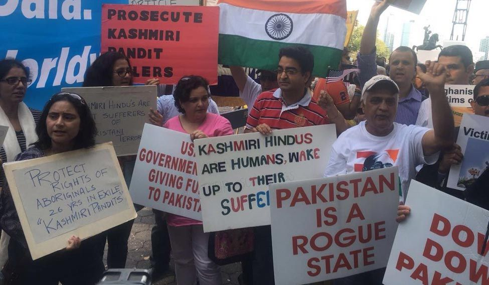Overseas friends of BJP, American friends of Balochistan, Sindhi and other groups protest outside UNGA