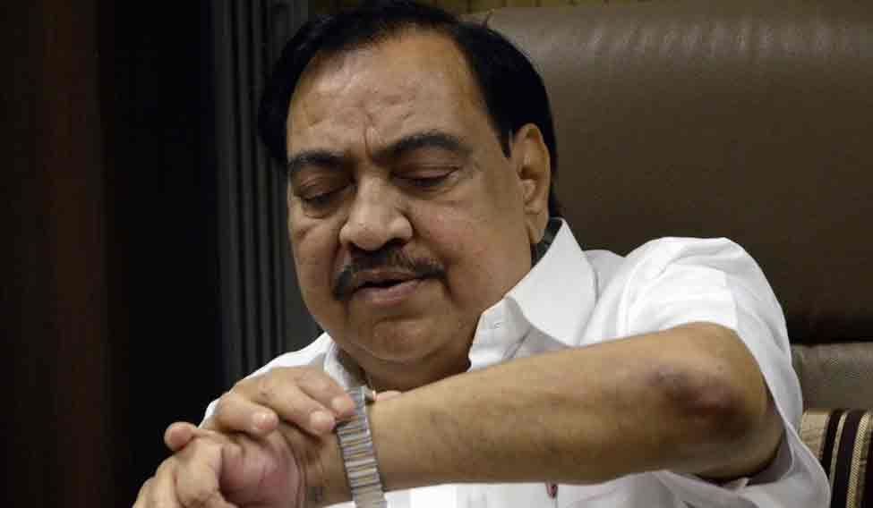 BJP leader Eknath Khadse during a BJP meeting to elect BJP Legislature Party leader at party office in Mumbai on Oct.28, 2014. (Photo: Sandeep Mahankal/IANS)