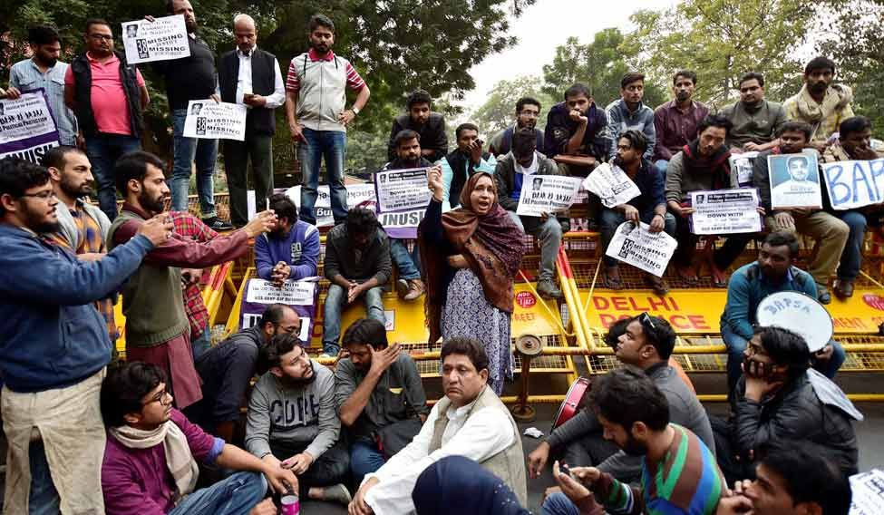 Missing JNU student Najeeb's mother addresses during a protest at Jantar MAntar in New Delhi last week