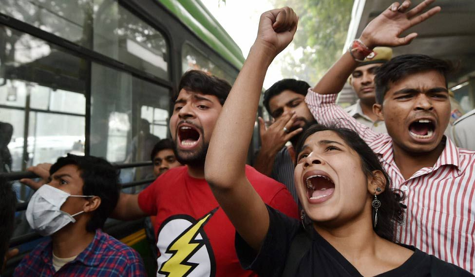Members of AISA and JNUSU shouting slogans during their protest in New Delhi