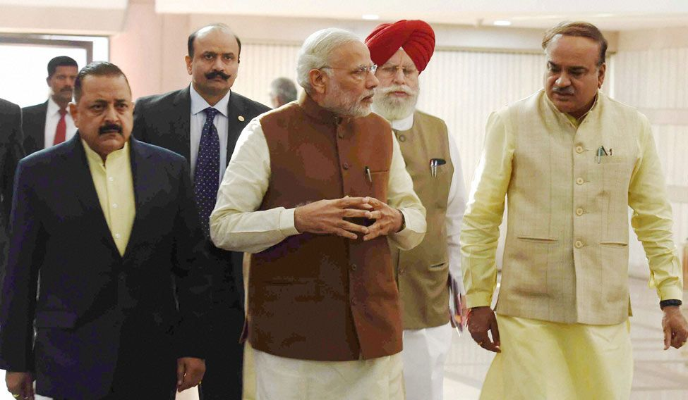 Prime Minister Narendra Modi arrives for BJP parliamentary party meeting in New Delhi