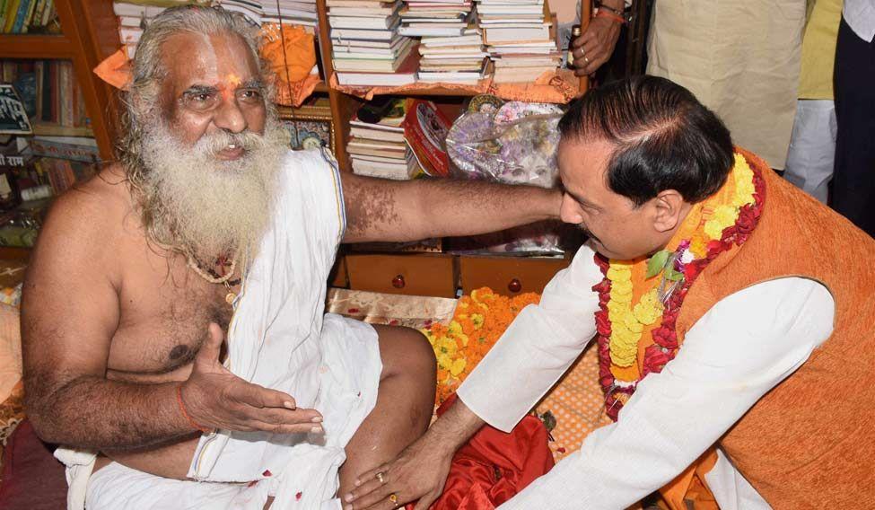 Culture and Tourism Minister Mahesh Sharma seeks blessings of Mahant Nritya Gopal Das in Ayodhya