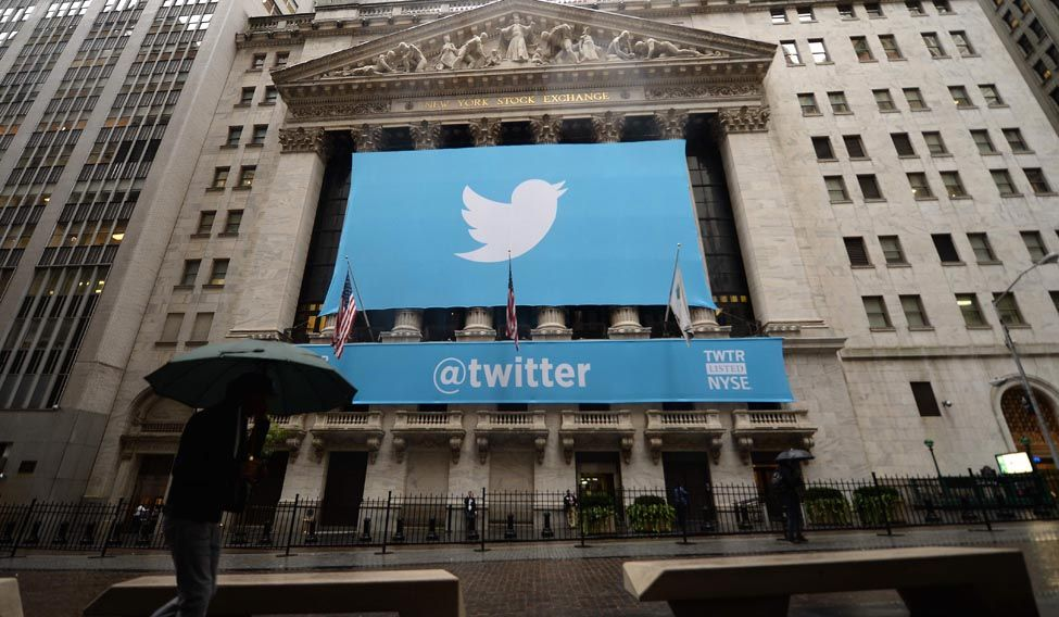 A banner with the logo of Twitter on the front of the New York Stock Exchange (NYSE) in New York