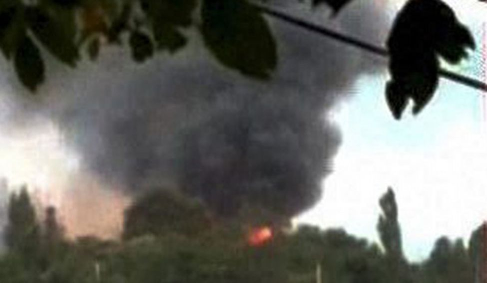 Flames and smoke rise from the Army camp during a terror attack in Uri