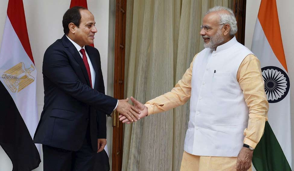 Prime Minister Narendra Modi shakes hand with Egyptian President Abdel-Fattah el-Sissi during their meeting at Hyderabad House in New Delhi on Friday