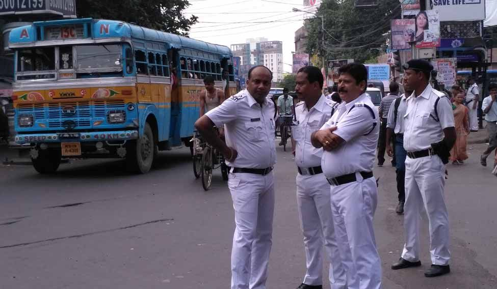 Kolkata police manning the streets during the one-day nationwide called by major trade unions
