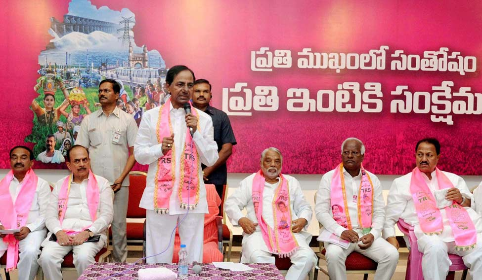 [File] TRS chief K. Chandrasekhar Rao speaks at a party event | PTI