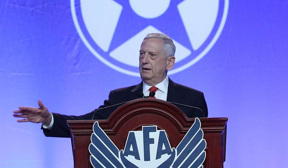 US-DEFENSE-SECRETARY-JIM-MATTIS-SPEAKS-AT-THE-AIR-FORCE-ASSOCIAT