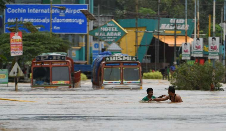 A flooded road leading to Cochin International Airport at Nedumbasseri | Manorama
