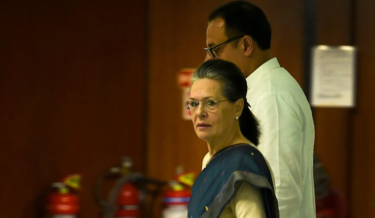 Former Congress president Sonia Gandhi arrives for the Extended Congress Working Committee (CWC) meeting, in New Delhi   PTI
