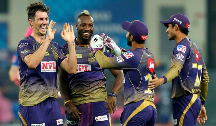 Pat Cummins of Kolkata Knight Riders celebrates the wicket of Ben Stokes of Rajasthan Royals | PTI