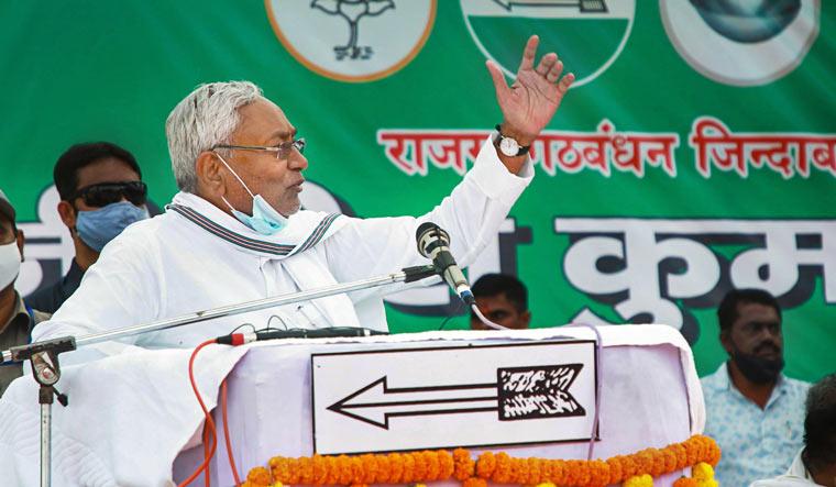 Bihar Chief Minister Nitish Kumar addresses a JD(U) rally | PTI