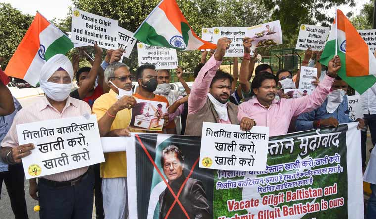 Hindu Sena members stage a protest against illegal annexure of Gilgit-Baltistan (GB) by Pakistan, near Pakistan Embassy in New Delhi | PTI