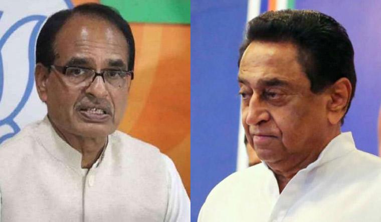 Madhya Pradesh Chief Minister Shivraj Singh Chauhan and senior Congress leader Kamal Nath