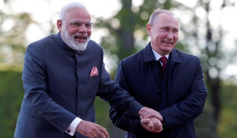 [File] Prime Minister Narendra Modi and Russian President Vladimir Putin | PTI