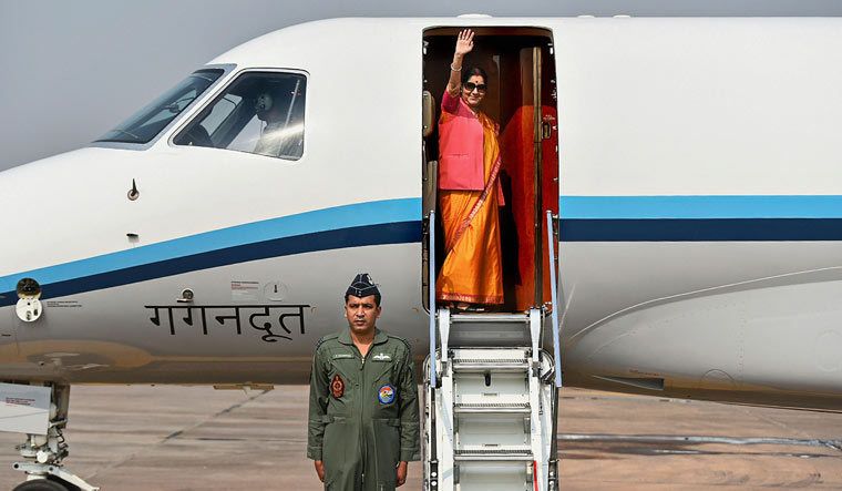 External Affairs Minister Sushma Swaraj emplanes for Dushanbe, Tajikistan as she leads the Indian delegation at Council of Heads of Government Meeting of Shanghai Cooperation Organization (SCO), in New Delhi | PTI