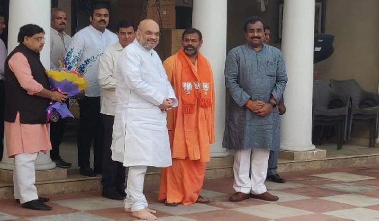Swami Paripoornananda with BJP President Amit Shah in New Delhi | BJP Telangana Twitter