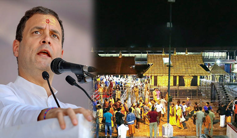 Rahul, however, was cautious not to mention the name of Lord Ayyappa or the recent agitations witnessed by the state against the entry of young women there