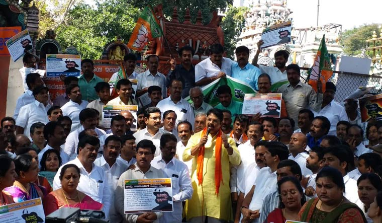 BJP workers protest against the state government's decision to celebrate Tipu Jayanti, in Bengaluru